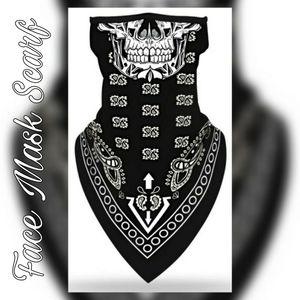 Unisex Face Mask Scarf, Bandanna Print Skull Goth